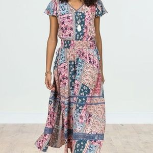 Matilda Jane Wildlife Patchwork Maxi dress M EUC